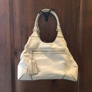 Ann Taylor Leather off white tote handbag